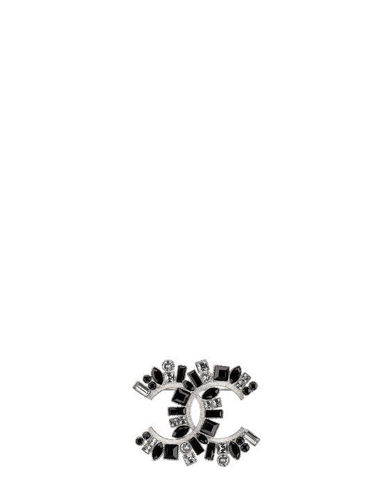 Brosche, metall & strass-silber, kristall & schwarz - CHANEL 470€