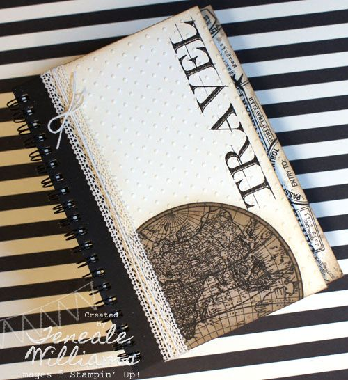 By Teneale Williams. Travel Journal created using Stampin' Up! Supplies and MDS. Personalise your projects and extend creativity with digital designing. Hybird MDS project. #mds #stampinup