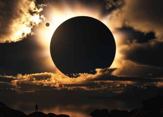 Solar eclipse and the moon's shadow