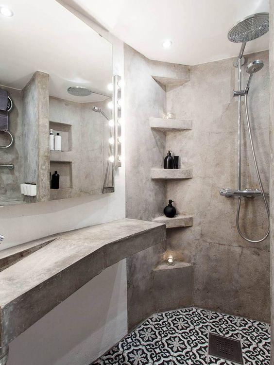 Salle de bain ciment et carreaux de ciment cement bathroom bathroom salle de bain for Idee salle de bain carreau ciment