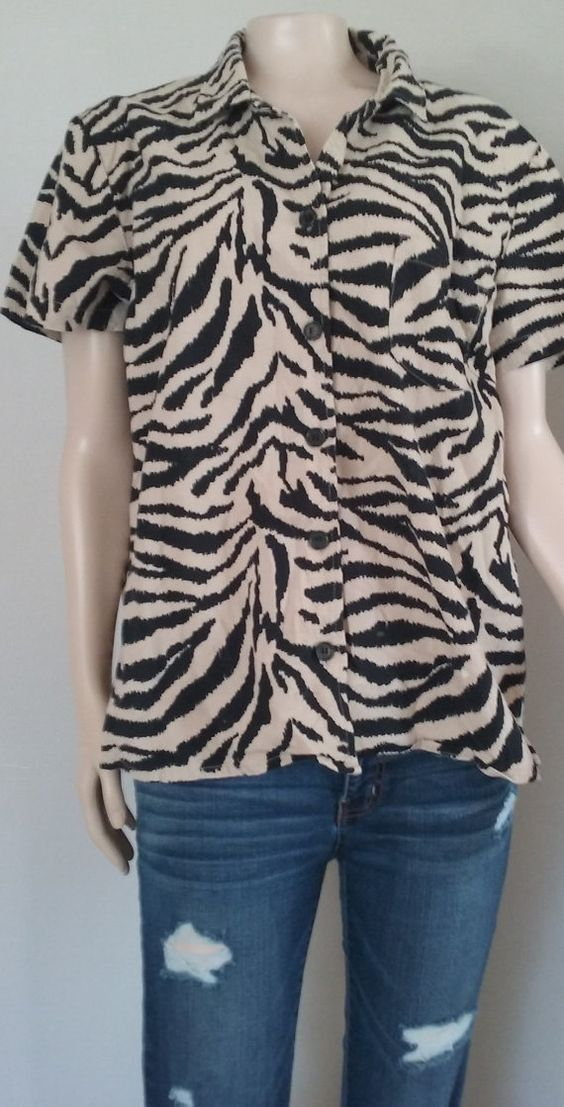 90's Zebra Print Button Up Shirt // Animal Print 90's Top #etsy#etsyshop#90's