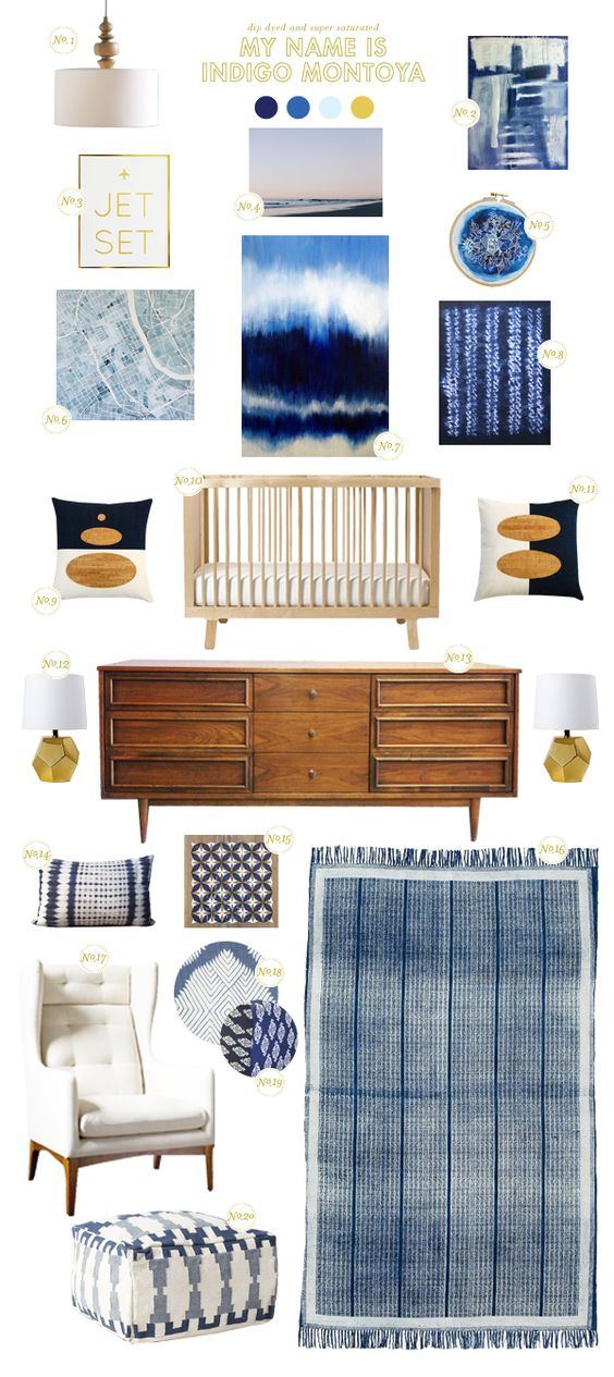 Indigo inspired nursery.: