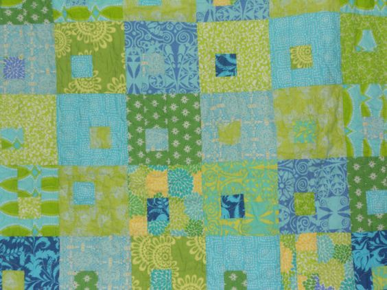 Blue and Green baby quilt - Juicebox