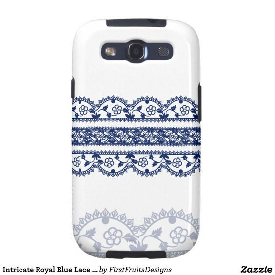 Intricate Royal Blue Lace on White Galaxy S3 Cover