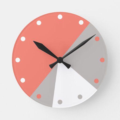 Coral Gray White Abstract Modern Geometric Decor Round Clock Zazzle Com In 2020 Modern Geometric Decor Geometric Clock Wall Clock