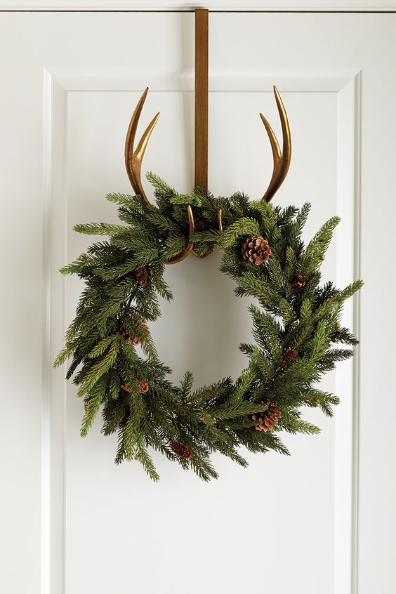 Spreads cheer and holiday on pinterest for Antler christmas wreath