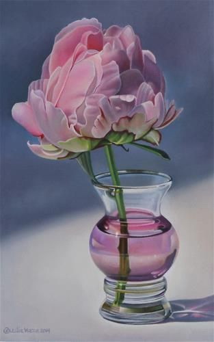 Dr. Fleming Peony Bud in Antique Vase - Original Fine Art for Sale - © by Leslie Macon