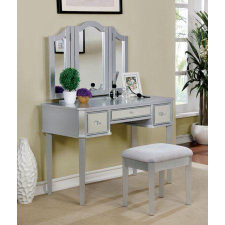 Furniture Of America Lina Contemporary Vanity Set Multiple Colors Bedroom Vanity Set Vanity Set With Mirror Vanity Set