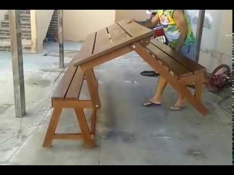 Banco Que Vira Mesa Em Ipe Youtube Diy Furniture Furniture