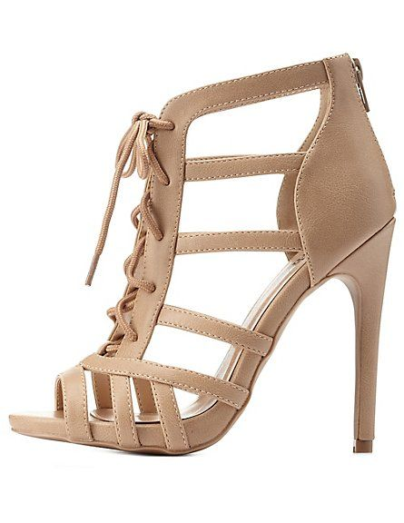 Strappy Lace-Up Caged Heels: Charlotte Russe #laceup #heels ...