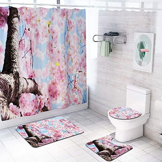 4 Piece Bathroom Mat Set Shower Curtain Set Bathroom Mat Contour Mat Toilet Cover Fabric Waterproo In 2020 Flower Shower Curtain Bathroom Mat Sets Bathroom Curtain Set
