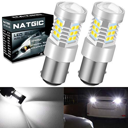 Natgic Auto Led Bulb 2pcs 1157 2057 2357 7528 Bay15d 2835 21 Smd Chipsets Led Bulbs With Lens Projector Brake Turn Signal Tail Backup Reverse Led Bulb Bulb Led