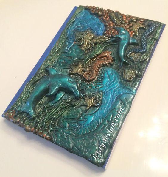 Sea World Polymer Clay Notiz/Tagebuch Unikat von leFayDesign