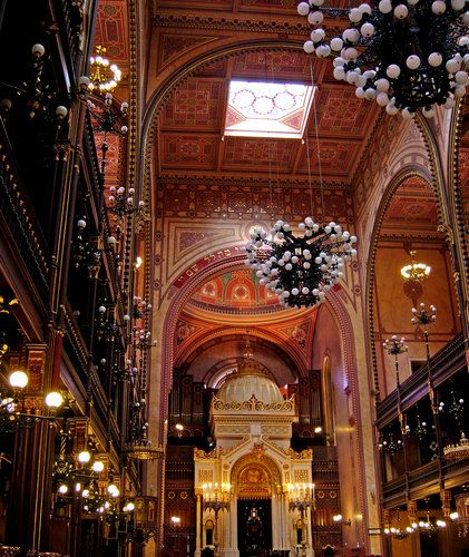Interior of the Great Synagogue in Budapest, Hungary