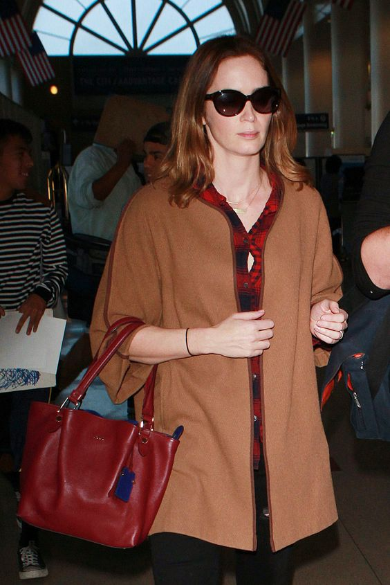 Emily Blunt was spotted at the airport in Los Angeles.