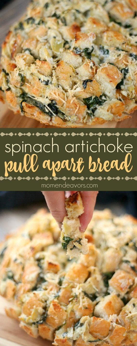 Cheesy Spinach Artichoke Pull Apart Bread - so easy to make and super ...