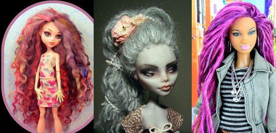 Tutorial simples para trocar o cabelo da sua Barbie descabelada