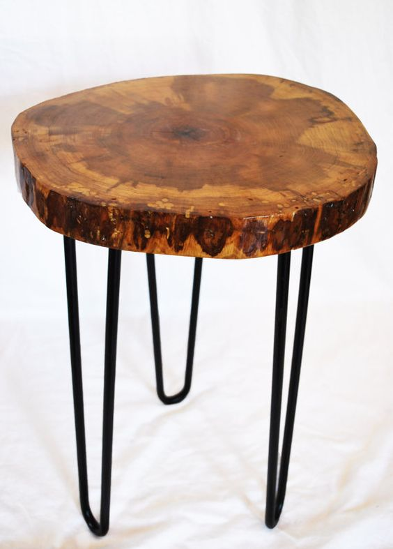 Hickory Wood Side Table Wood Slice Modern Furniture By Nature Bound Etsy Group Board