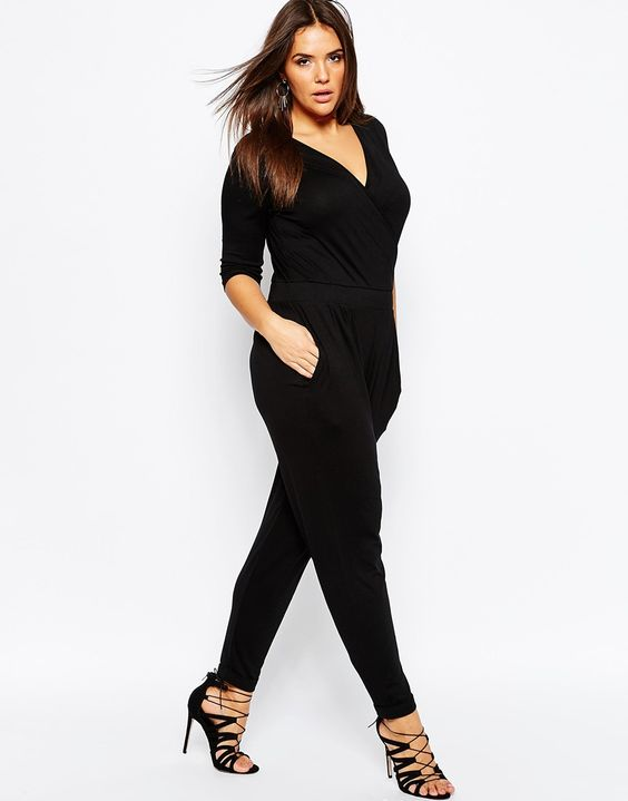 Image 4 of ASOS CURVE Wrap Jumpsuit with 3/4 Sleeve