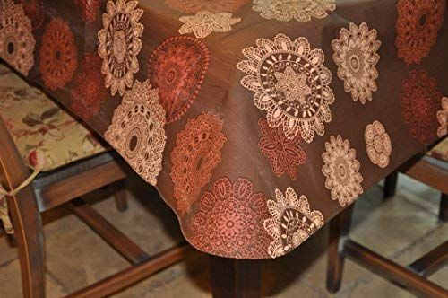 """Multi-Color Geometric Pattern Fits Tables up to 45/″ Large Round Covers For The Home Elastic Edged Flannel Backed Vinyl Fitted Table Cover 56/"""" Diameter"""