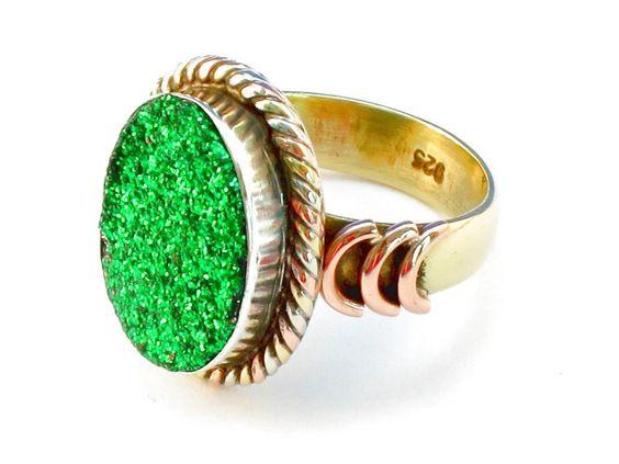 Design 110375 green druzy .925 Sterling Silver Ring Size 10