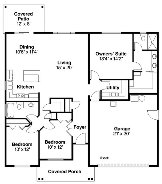 Cottages house plans and craftsman on pinterest for 1500 sq ft bungalow house plans