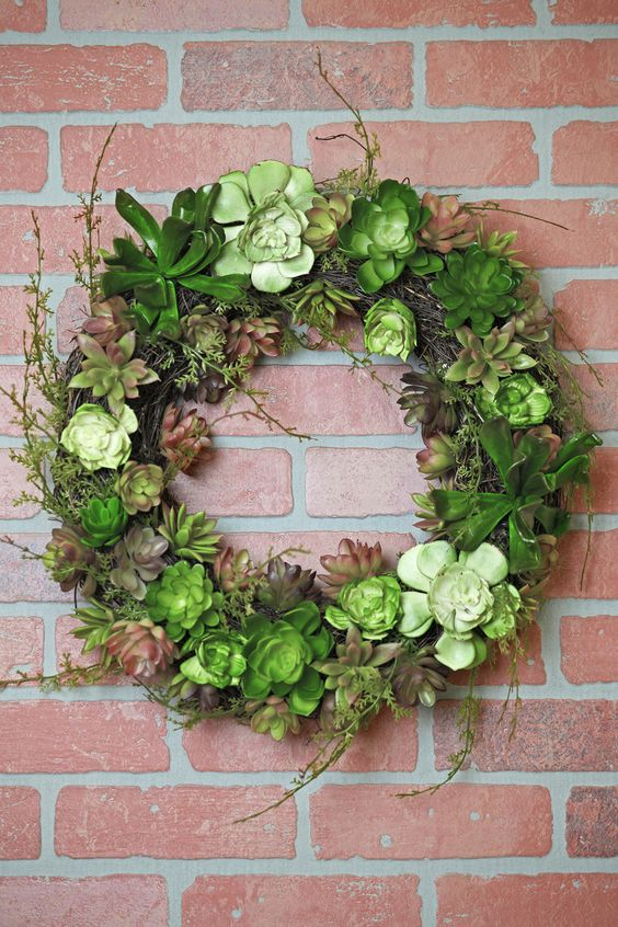 Faux Moss Twigs & Succulent Wreath. I need this for my patio wall!