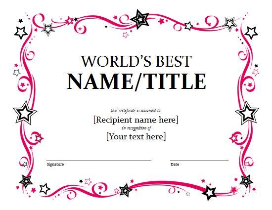 awardcertificatetemplate 4th Grade ELA Pinterest – Award Certificate Samples