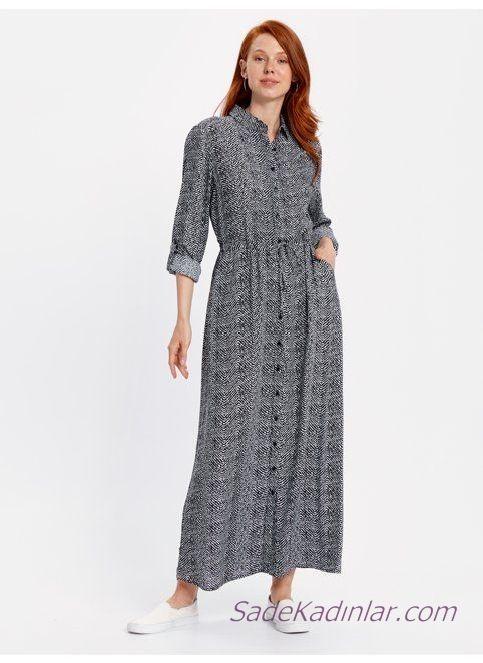 2019 Uzun Kollu Elbise Modelleri Gri Yakali Onden Dugmeli Cepli Desenli Elbise Modelleri Elbise Moda Stilleri
