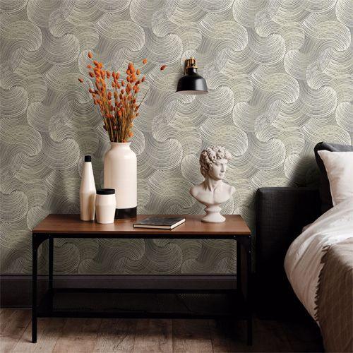 Karson Swirling Geometric Wallpaper By Brewster Lelands Wallpaper Geometric Wallpaper Geometric Wallpaper Grey Home Decor