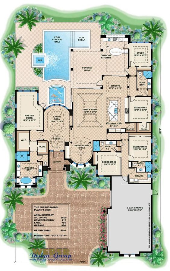 Fresno Home Plan... LOVE the round dining room. Everything else is just about perfect, too.