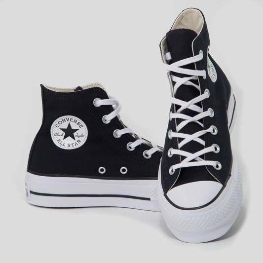 Converse All Star Platform Pelle Alte Nere Bianche [Prodotto