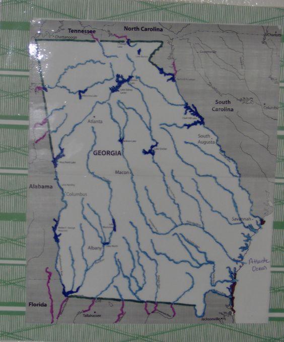 Georgia Map To Highlight Major Rivers Lakes CR Social Studies - Georgia map rivers lakes