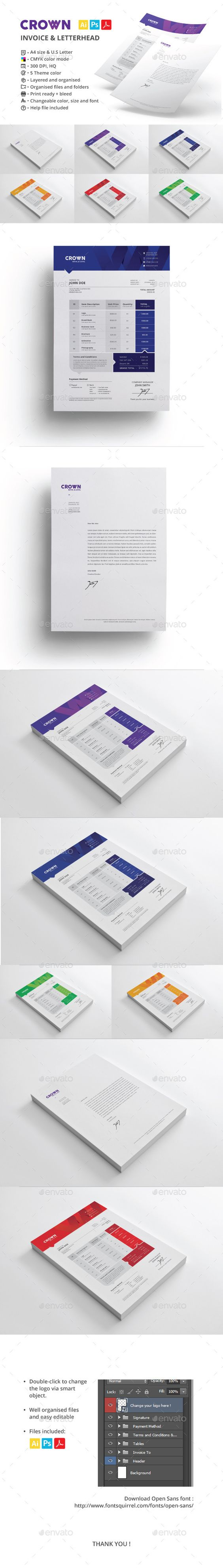 Crown Invoice & Letterhead Template | #invoice #invoicetemplate #invoicedesign | Download: http://graphicriver.net/item/crown-invoice-letterhead/9376993?ref=ksioks