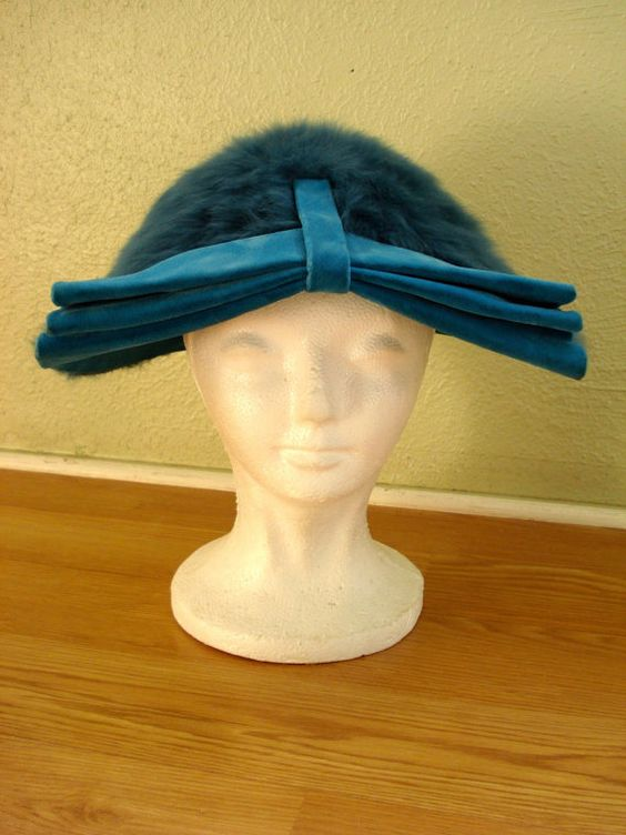 Vintage 1940s Tilt Hat Teal Blue Angora Velvet Miss by bycinbyhand, $65.00 #somethingblue #teal #motherofthebride #tilthat #hat #angora #1940s #bycinbyhand #cinsfreshpicked