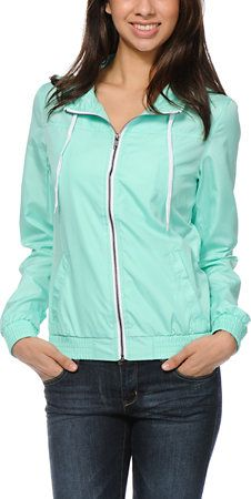 Zine Girls Ice Green Windbreaker Jacket at Zumiez : PDP