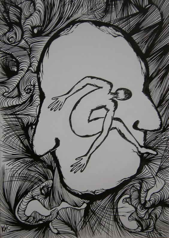 """Anthropomorphisme II"" encre de chine"