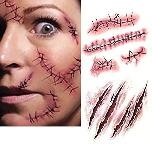 10pc halloween zombie tatouage temporaire blessure cicatrice plaie costume maquillage faux sang - Maquillage zombie simple ...