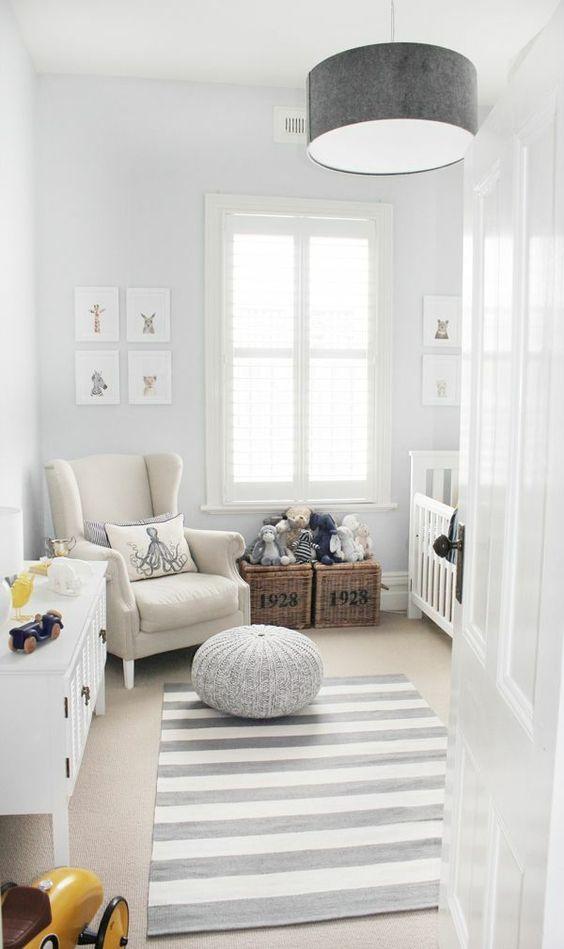 Modernes Babyzimmer in Grau und Grün gestalten