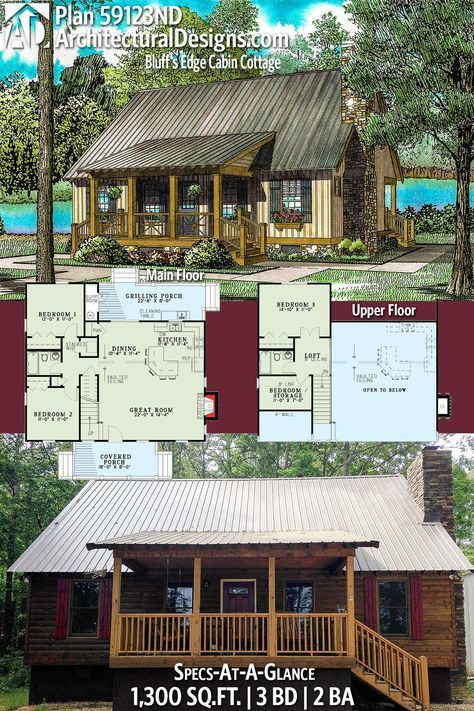 Plan 59123nd Bluff S Edge Cabin Cottage In 2020 Cottage House Plans Cottage Plan Cabin House Plans