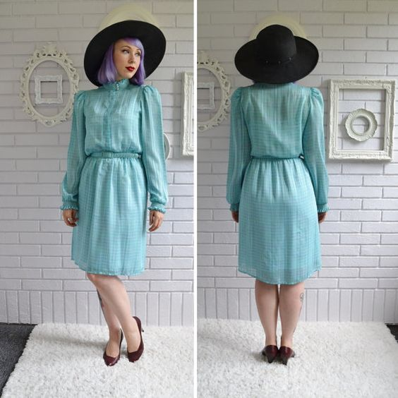 Vintage Light Teal Sheer Striped Dress by M. by NevermoreVintage