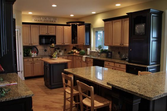 Oak cabinets granite countertops and cabinets on pinterest for Light colored kitchen cabinets