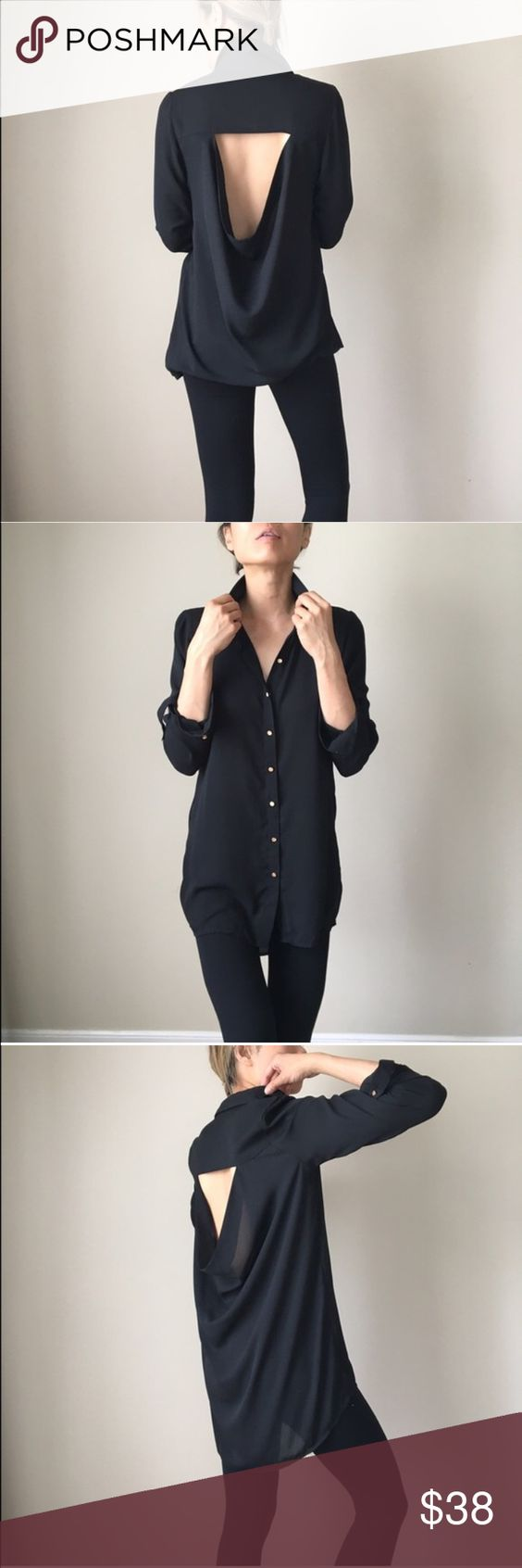 Midi sheer top tunic with open back Contemporary medium sheet tunic blouse top with open back. Gold plated stud buttons. Adjustable button sleeves . Classy simple n ultra chic Tops Blouses
