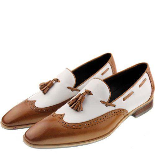 Fulinken Men&-39-s Two-tone Leather Formal Dress Shoes Slip on Tassel ...