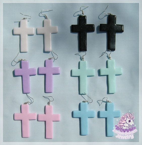 Hey, I found this really awesome Etsy listing at https://www.etsy.com/listing/231997711/pastel-goth-cross-earrings