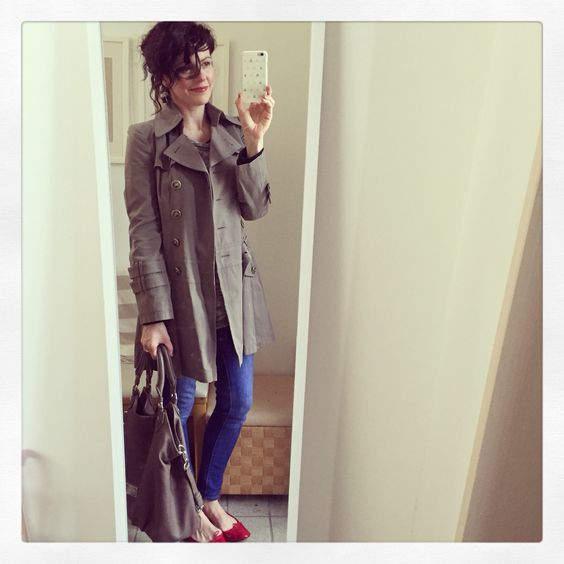 Burberry trench, red Repettos, Gap jeans & Marc by Marc Jacobs Francesca tote.