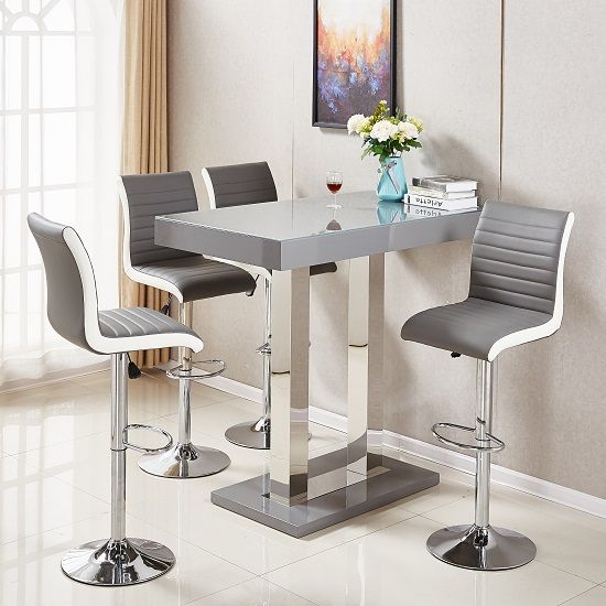 Caprice Glass Bar Table In Grey High Gloss With Stainless Steel Support And 4 Ritz Grey And White Bar Stools In Faux Leathe Glass Bar Table Bar Table Glass Bar