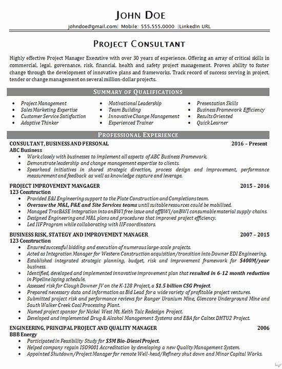 Management Consulting Resume Examples Awesome Executive Project Consultant Resume Example Business In 2020 Resume Examples Good Resume Examples Project Manager Resume