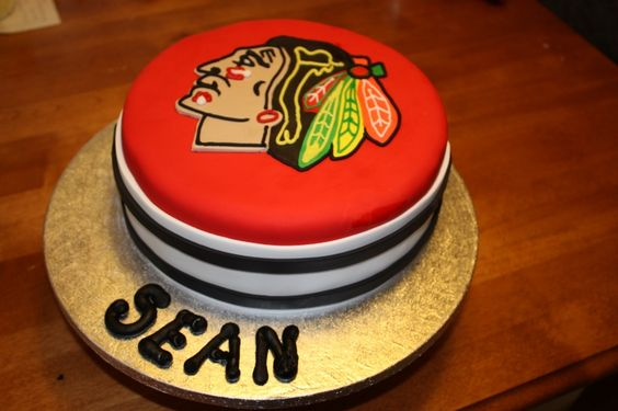since my birthday is coming up i decided i would like a hockey cake! #Blackhawks