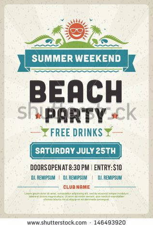 Retro Summer Party Design Poster Or Flyer. Night Club Event